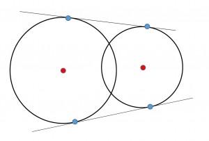 2円の接線-2本
